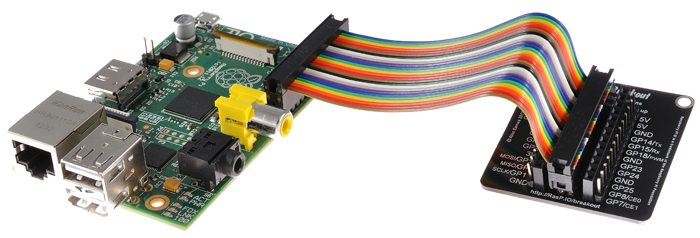 "RasPiO® Breakout used ""off Pi"" with ribbon cable"