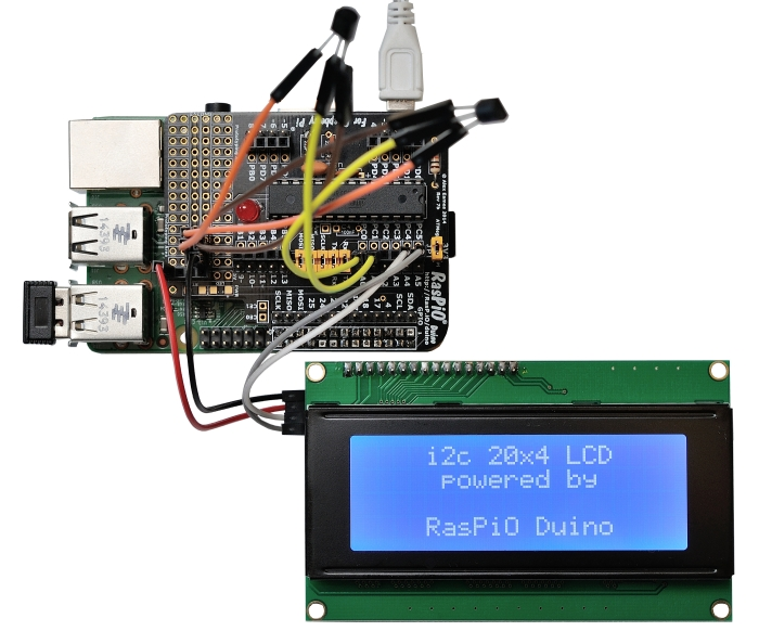 RasPiO LCD20 on RasPiO Duino