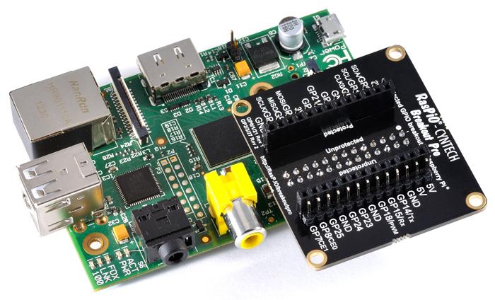 RasPiO<sup>®</sup> Breakout Pro on the Raspberry Pi