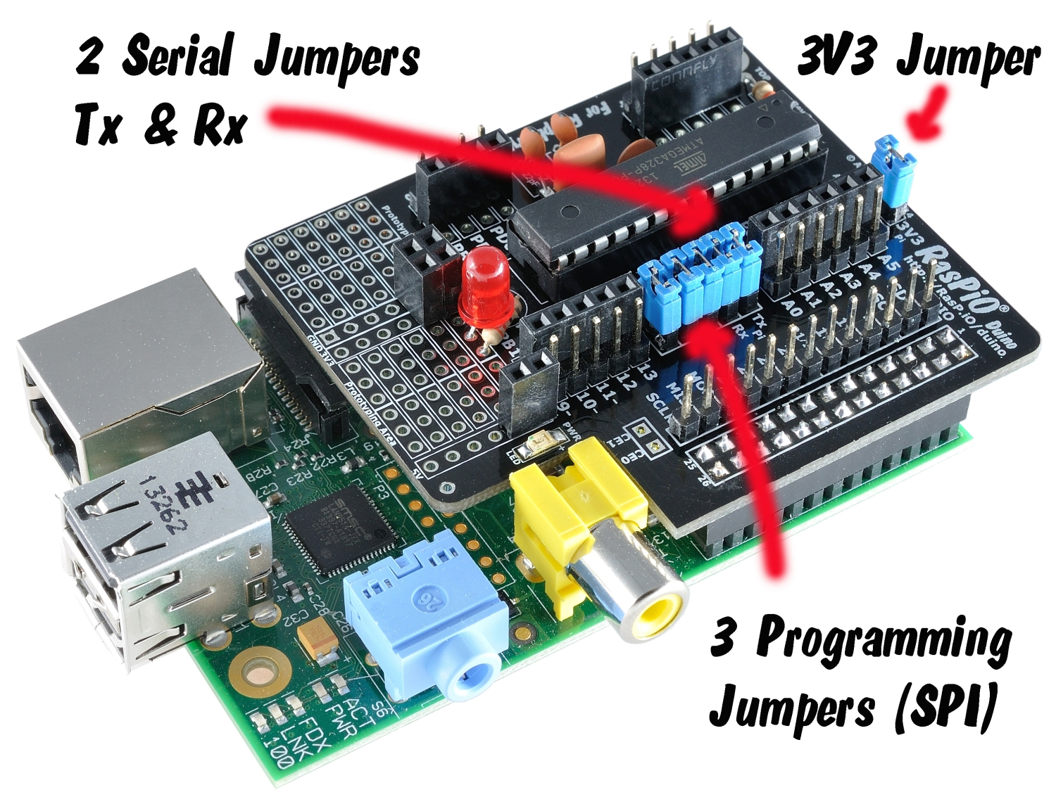 Duino Raspberry Pi Shield For Dummies Experimental Board Analog Digital Raspio Showing Programming And Serial Jumpers