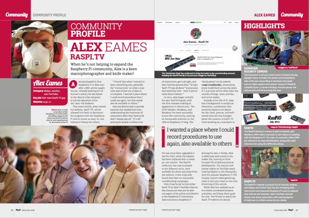 Community profile Alex Eames RasPi.TV & RasPiO